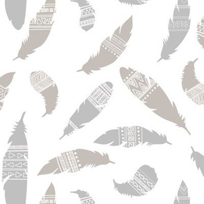 Tribal Feathers in Neutrals Gray and Beige