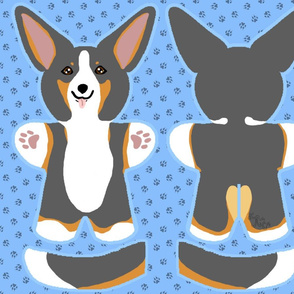 Kawaii Corgi plushie on blue - tricolor