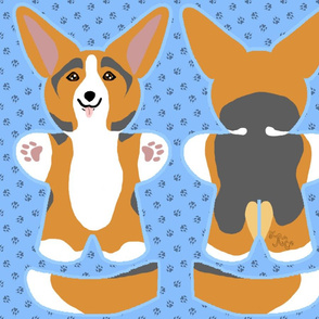 Kawaii Corgi plushie on blue - red head tri
