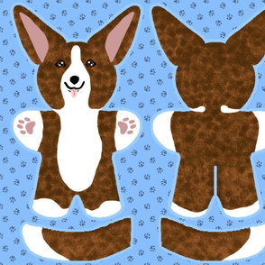 Kawaii Corgi plushie on blue - brindle