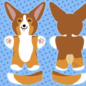 Kawaii Corgi plushie on blue - sable