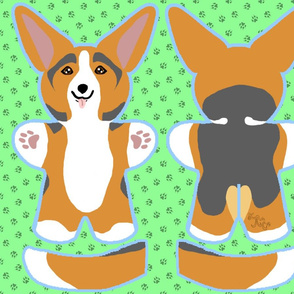 Kawaii Corgi plushie on green - red head tri