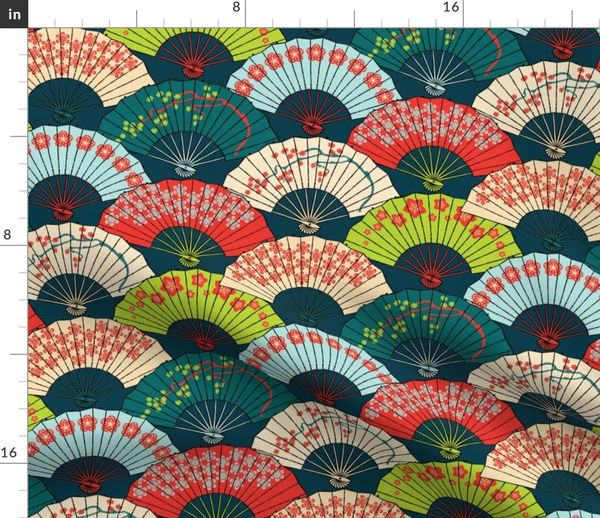 Fabric by the Yard Japanese Fans Bright Patterns