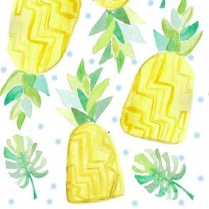 Watercolor Pineapple Fruit Pattern