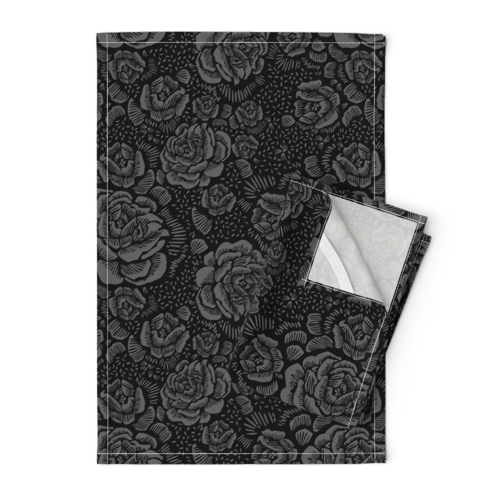 Orpington Tea Towels featuring Rose remix dark by cinneworthington