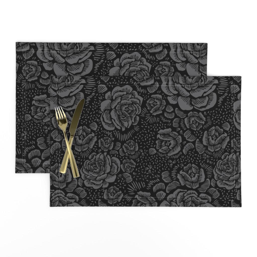 Lamona Cloth Placemats featuring Rose remix dark by cinneworthington