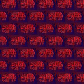 Orange block print Elephants on cobalt blue