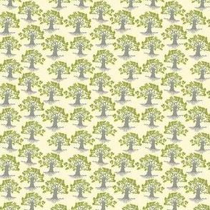 mini oak trees on pale yellow