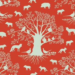 Animal silhouette on red