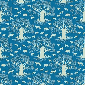 small animal silhouette on blue