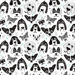 I love big silly dogs cute black and white puppy and dog design XS