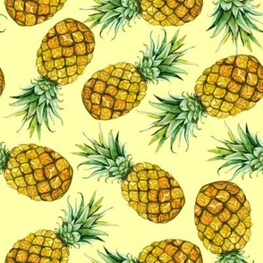 Watercolor pineapples on yellow background