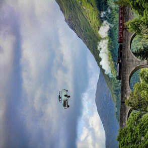 car over glenfinnan viaduct - oil painting - potter's world