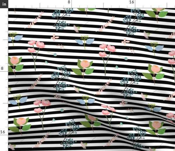 Fabric by the Yard Misha's Flowers Pink & Blue - Stripes