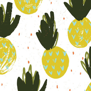 Pineapples White Large by Friztin