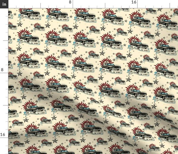 Fabric by the Yard Supernatural Inspired Baby 67 Impala Tattoo