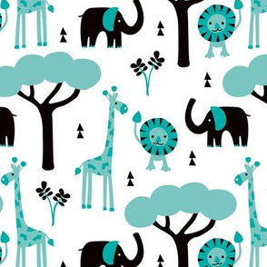 Quirky african zoo animals giraffe elephant and lion safari kids blue