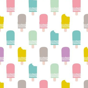 Scandinavian retro popsicle ice cream summer illustration pattern pastel colorful
