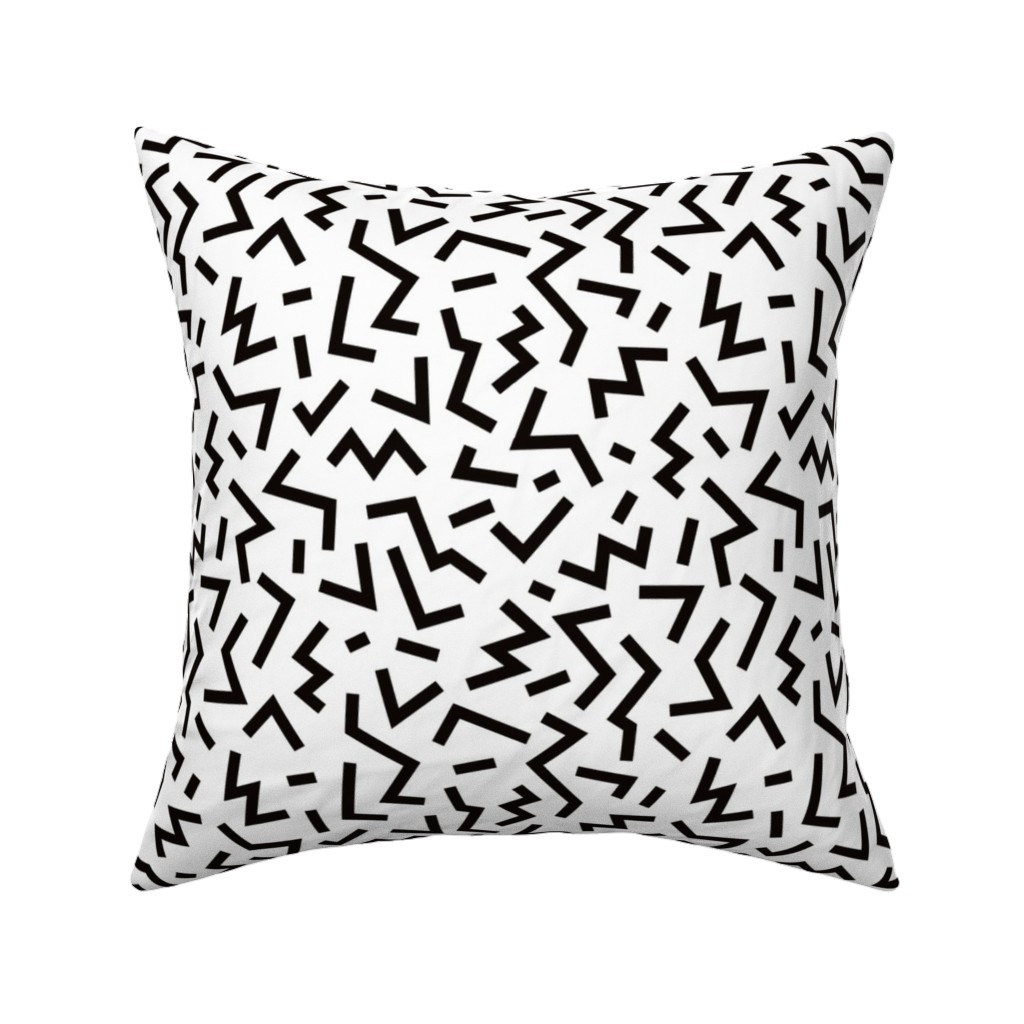 Catalan Throw Pillow featuring Super trendy geometric shapes squares stripes strokes and zigzag abstract memphis retro black and white by littlesmilemakers
