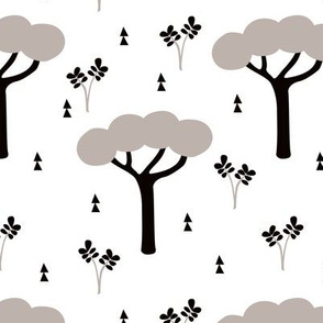 Quirky african zoo safari forest trees and plants and geometric arrows kids gender neutral gray