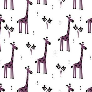 Quirky african zoo animals giraffe safari kids beige girls purple