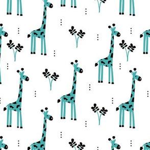 Quirky african zoo animals giraffe safari kids blue boys