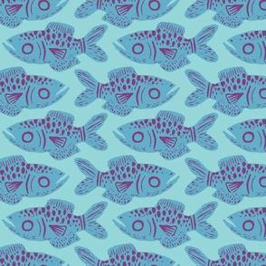 Sea Blue Fish Print