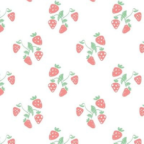 Sweet summer strawberry fruit colorful pastel mint pink