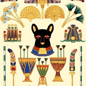 black cats goddesses Bastet Ancient Egypt Egyptian Fans Lotuses Palm trees boats papyrus plants flowers vases crowns Pharaohs kings queen ankh crosses royalty bast eyes rudders oars