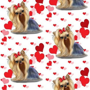 Yorkie Pink Red hearts