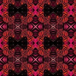 African Zebra Block print: Orange on pinks and black