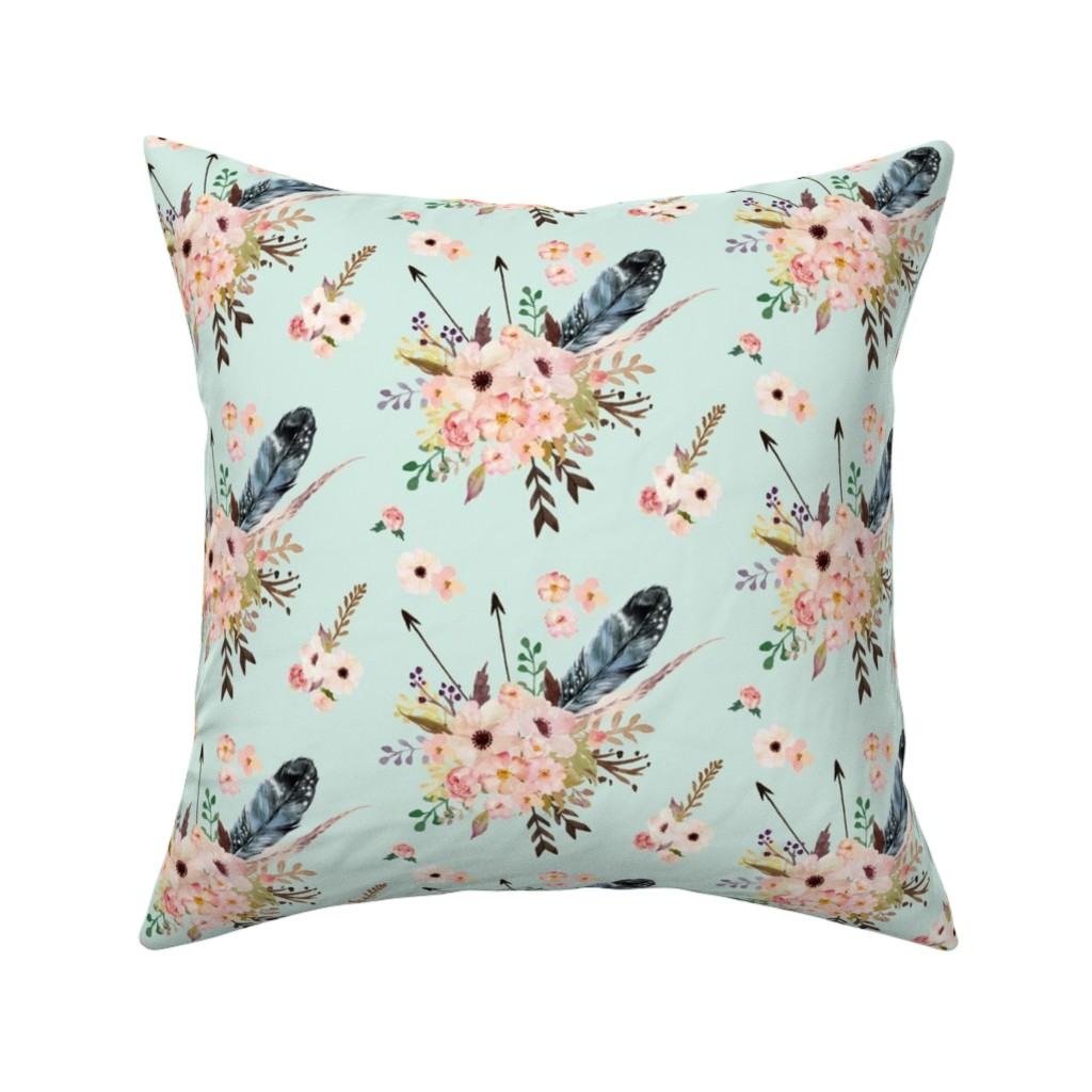 Catalan Throw Pillow featuring Boho Pink in Green by shopcabin