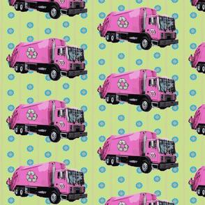 Pink Trash Truck Garbage Truck Light Green Stripe