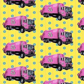 Pink Trash Garbage Trucks Yellow Stripe