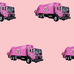 Pink Trash Garbage Trucks on Light Pink