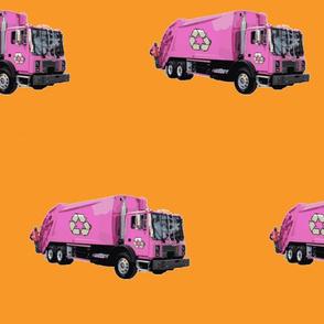 Pink Trash Garbage Trucks on Orange