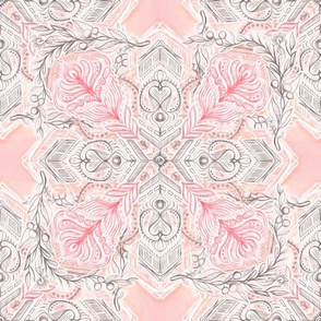 Peaches and Cream Doodle Tiled Pattern