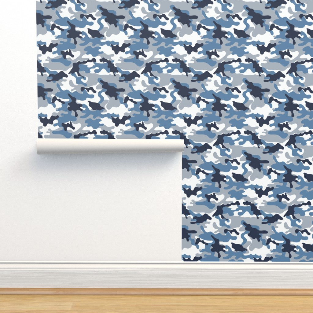 Isobar Durable Wallpaper featuring Blue and White Camouflage pattern by artpics