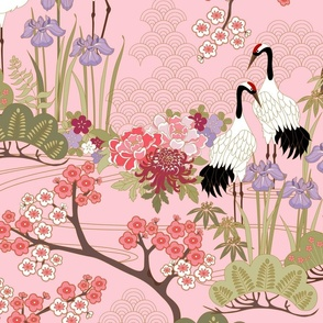 Large scale Japanese Garden Pink 24 in