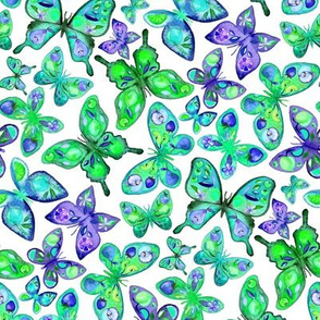 Watercolor Fruit Patterned Butterflies - purple and green