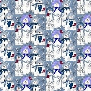 Snowman Winter Trees, Birds, and Snowflakes Fabric A