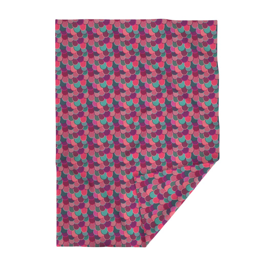 Lakenvelder Throw Blanket featuring Fish Scales and Mermaid Tails by lydia_meiying