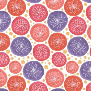 white doodle flowers in bright circles