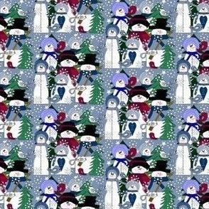 Snowman, Winter Trees, Birds & Snowflakes Fabric B