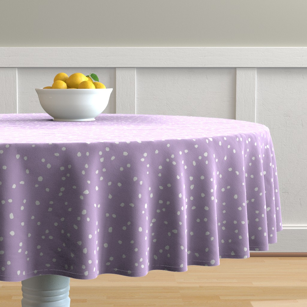 Malay Round Tablecloth featuring Alexa's Confetti Dots in Violet 2 by shi_designs