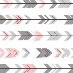 Arrow Feather - grey/pink 90 degree- Meadow Sunrise