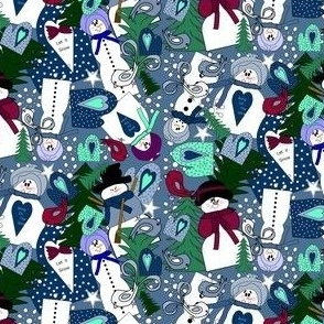 Snowman, Winter Trees, Mittens, Birds and Snowflakes  Fabric C