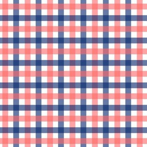 Navy and Coral Gingham