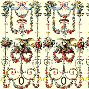 Victorian leaf leaves swags curtains ribbons bows arrows birds flowers floral roses festoons vases eggs nests family shabby chic romantic antique vintage baroque rococo  filigree swirls  bows wreath garland