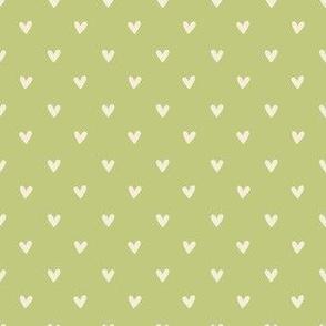 Happy Hearts in Celery Green